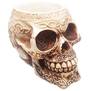 TRIBAL TATTOO SKULL PEN STATIONERY HOLDER RESIN FIGURINE SKELETON STATUE by ATL