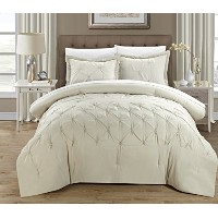 Chic Home 3 Piece Veronica Pinch Pleat Pintuck Duvet Cover Set, Queen, Beige by Chic Home