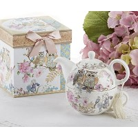 Porcelain Tea for One with装飾ギフトボックス、Owls
