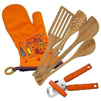 Lefty's Kitchen Tool Set Includes Left Handed Can Opener, 4 Bamboo Utensils, and Orange Mitt 6 Pcs....
