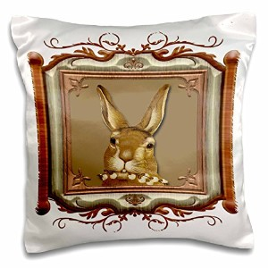 3drose BLN Victorian、ペット動物コレクション–Cute Bunny Holding A Pussy Willow Branch in a木製Lookフレーム–枕ケース...