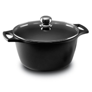 Fundix by Castey Nonstick Cast Aluminium Induction Stock Pot/Deep Casserole with Tempered Glass Lid...
