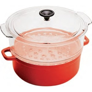 World Cuisine 4 quart red enamel cast-iron steamer with a tempered glass colander and a tempered...
