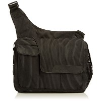 Diaper Dude pinstripe messenger II bag, schwarz