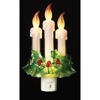 """Night Light Candles and Holly 7.75"""" LEDクリスマス装飾ライト"""