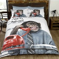 Urban Unique Monkey Business Quilt Duvet Cover and Pillowcase New Bedding Bed Set, Grey, Single by...