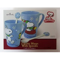 Hallmark Peanuts Christmas Set of 2 Latte Mugs with Spoons by Peanuts