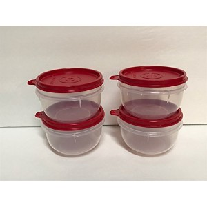Tupperware Ideal Little Bowls Snackセットの4、Sheer withレッドシール