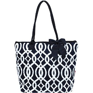 Vine Pattern Quilted Large Stripe Bag (Navy) by NGIL