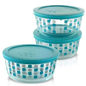 Pyrex 4-cupラウンドガラス単に保存食品ストレージディッシュ 4 Cup, Pack of 3 Containers ブルー COMINHKG104450