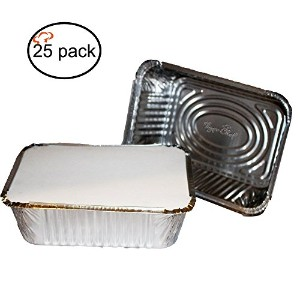 TigerChef TC-20315 Durable Aluminum Oblong Foil Pan Containers with Board Lids, 5 Pound Capacity, 9...