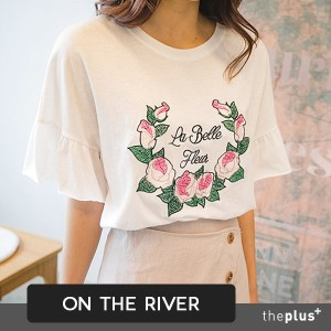 ★ontheriver ★Summer Rose Embroidery Frill Blouse / Short / Korean Fashion / Plus size