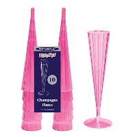 Party Essentials N51029 Brights Plastic 2-Piece Champagne Flute, 5-Ounce Capacity, Neon Pink (Case...