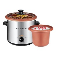 VitaClay VS7600-2C 2-in-1 Yogurt Maker and Personal Slow Cooker in Clay, Stainless Steel [並行輸入品]