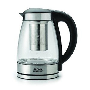Aroma AWK-165DI 7 Cup Glass and Stainless Digital Kettle with Tea Infuser, 1.7 L, Clear [並行輸入品]
