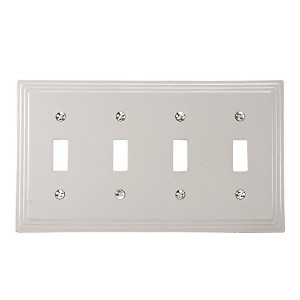 Amerelle 84T4N Steps Cast Metal Four Toggle Wallplate, Satin Nickel [並行輸入品]