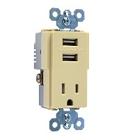Pass & Seymour TM8USBICC6 USB Charger Tamper-Resistant Receptacle, Ivory [並行輸入品]