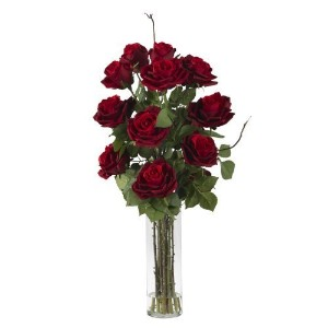 Nearly Natural 1206 Roses with Cylinder Vase Silk Flower Arrangement, Red by Nearly Natural [並行輸入品]
