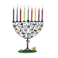 Rite-Lite Judaica Flowering Tree of Life 10-Inch by 10-Inch Hand Craft Metal Menorah Gift Box ...
