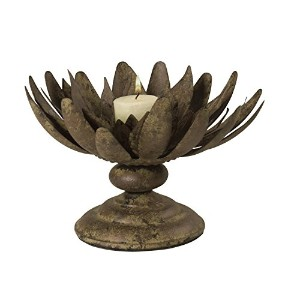 Wilco Imports Rust Flower Shape Candleholder, 7-1/2-Inch by 6-1/2-Inch [並行輸入品]