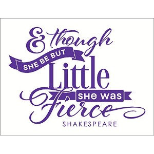Wall Decor Plus More WDPM2674 And Though She Be Little She Was Fierce Girls Wall Decal 31x23 Inch...