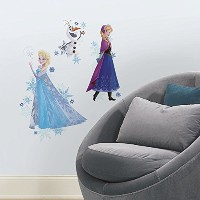RoomMates RMK2771TB Frozen Anna, Elsa, and Olaf Peel and Stick Giant Wall Decals, 18' x 40' [並行輸入品]