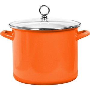 Calypso Basics 78500 Enamel Stock Pot, 8 quart, Orange [並行輸入品]