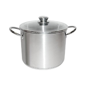 Good Cook 06179 Kitchen Basics Stainless Steel Deluxe Stock Pot with Glass Lid, 8 quart, Silver ...