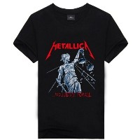 T007 Top Quality Metallica Letter Large Size 3D Print Cotton Men Short Sleeve Black T-shirts