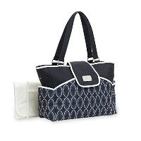 Carter's Flap Tote Deco Fashion Print Diaper Bag, Black/Grey by Carter's