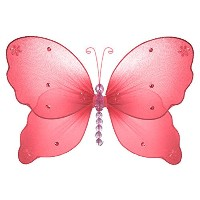 The Butterfly Grove Emily Butterfly Decoration 3D Hanging Mesh Organza Nylon Decor, Coral Red,...