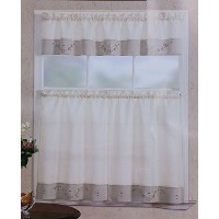 Fancy Linen 3pc Beige Taupe with Embroidered White Floral Kitchen/cafe Curtain Tier and Swag Set by...