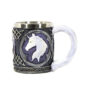 Black and White Purple Celtic Mug with White Unicorn Head by Bellaa