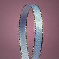 Light Blue Satin Ribbon with Gold Edges, 3/8 X 50Yd by Paper Mart