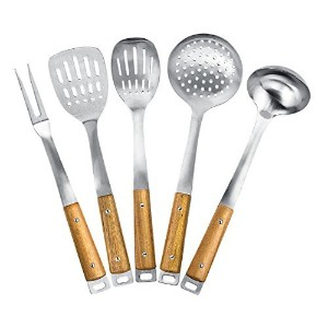 Kitchen Maestro, Stainless Steel Utensil Set with Acacia Wood Grips (5) by Kitchen Maestro