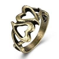 [EasternStar] レディース リング Ladies Ring 中空 Two Hearts Together ヴィンテージ 指輪 アンティーク青銅メッキ [並行輸入品]