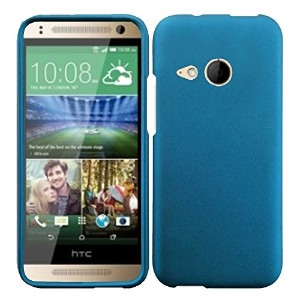 HR Wireless Rubberized Cover for HTC One Remix M8 Mini - Retail Packaging - Cool Blue by HRWireless