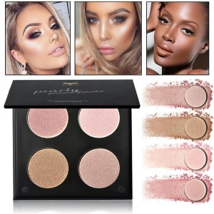 HUAMIANLI 4 Color Bronzer Highlighter Powder Makeup Matte Glitter Face Contour Palette Cosmetics Kit