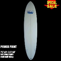 "Power Point パワーポイント サーフボード ファン 7'6"" フィン付 Funboard (A60292)サーフィン サーフボード Surfboard 未使用アウトレット特価【代引不可】"