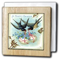 Sandy Mertensイースターヴィンテージ – Birds Carrying Easter Eggs – タイルナプキンホルダー 6 inch tile napkin holder nh...