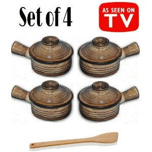 Set of 4 Stone Wave Microwave Cooker with Chefwing Wood Kitchen Tool (4, Set of 4 with Spatula) by...