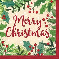 Amscan、Merry Holly Day luncheon napkins
