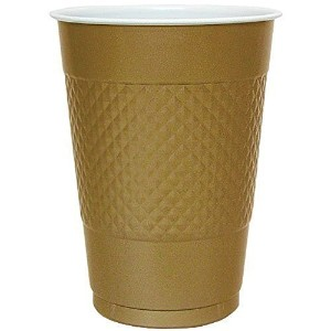 Hanna K. Signature Collection 100 Count Plastic Cup, 16-Ounce, Gold, Diamond OR circle pattern by...