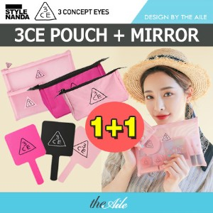 [3CE/3CONCEPT EYES] ★1+1★ 3CE コスメポーチ / 手鏡 COSMETIC POUCH MIRROR
