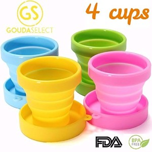 Gouda Select Collapsible Silicone Cup for Travel - Camping - School - Outdoor (4 cups - 4 colors)...