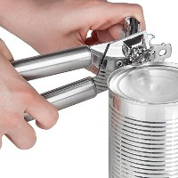 Left Handed Can Opener、ステンレススチールとクロム。ライトシルバーLeft Handed手動Can Opener with 3- in - 1Can Opener /...