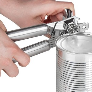 Left Handed Can Opener、ステンレススチールとクロム。ライトシルバーLeft Handed手動Can Opener with 3 - in - 1 Can Opener /...