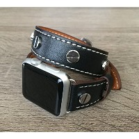 Black Double Wrap Bicast Leather Band For Apple Watch Series 1 & 2 (42mm) Replacement Bracelet Eco...