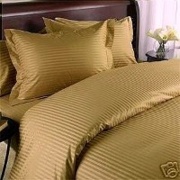 Stripes Bronze 300 Thread Count Full/Queen Duvet Cover Set 100 % Cotton 3pc comforter cover set...