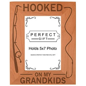 Gift for Grandpa Hooked On My Grandkids Natural Wood Engraved 5x7 Portrait Picture Frame Wood by...